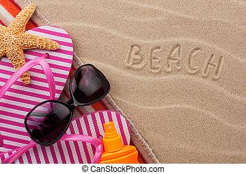 Word beach, written in the sand