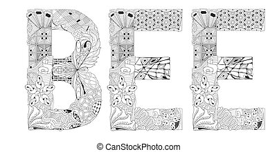 Word BEE for coloring. Vector decorative zentangle object