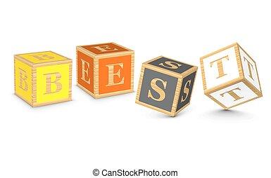 Word BEST written with blocks - BEST written with alphabet...