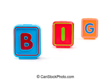 Word BIG with colorful blocks and white background