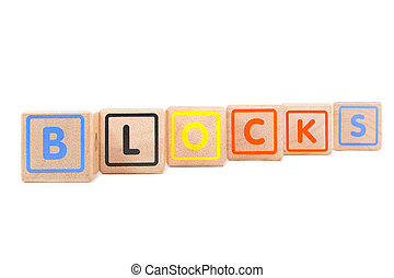 "Word ""Blocks"" with colorful wooden blocks on white background"