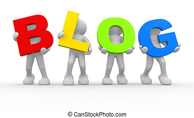 """Word """"blog"""" - 3d people icon the word """"blog""""- This is a 3d..."""