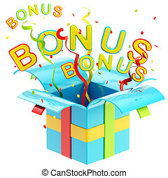 "Word ""bonus"" inside a gift box with colorful ribbon,..."