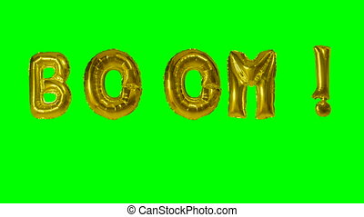 Word boom from helium gold balloon letters floating on green...