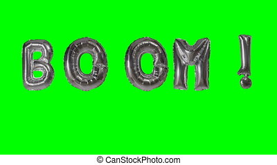 Word boom from helium silver balloon letters floating on...