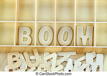 Word boom made with wooden letters alphabet