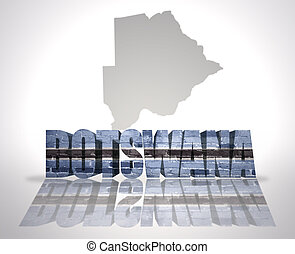Word Botswana on a map background