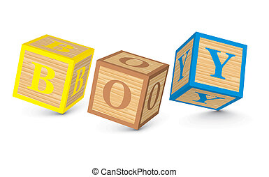 Word BOY written with blocks