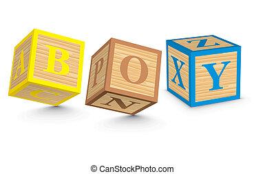 Word BOY written with blocks