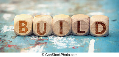 Word build on wooden cubes