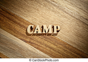 Word camp made with wooden letters