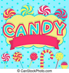 """Word """"candy"""" decorated - Word """"candy"""" with ribbon for insert..."""