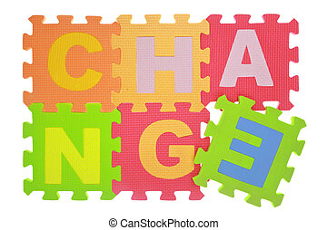 "Word ""Change"" jigsaw puzzle pieces isolated on white"