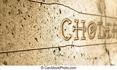 word cholera on wall with egyptian alphabet