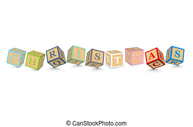 Word CHRISTMAS written with blocks - CHRISTMAS written with...