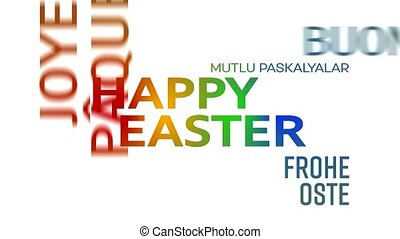 word cloud animation - happy easter - colorful - word cloud...
