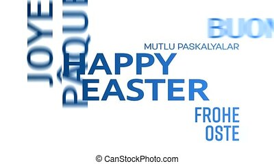 word cloud animation - happy easter - blue - word cloud...