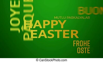 word cloud animation - happy easter - green yellow - word...
