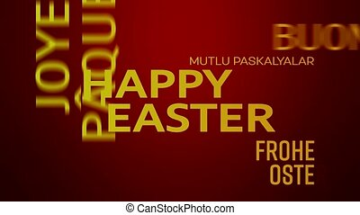 word cloud animation - happy easter - red yellow - word...