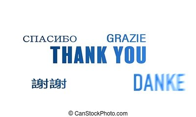 word cloud animation - Thank you - blue - word cloud...