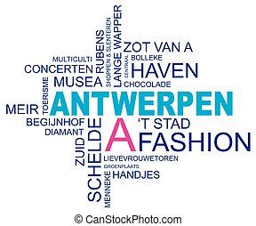 word cloud around antwerp, city in belgium, flanders, dutch and flemish version, vector, eps10