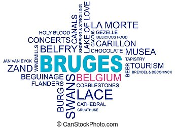 word cloud around bruges, city in belgium, flanders, vector image, eps10