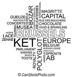 word cloud around brussels, capital of belgium and europe, vector image