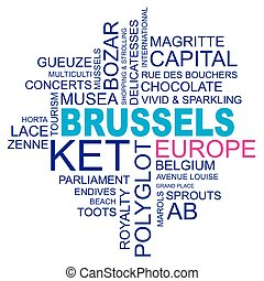 word cloud around brussels, capital of belgium and europe, vector image, eps10
