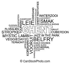 word cloud around ghent, city in belgium, flanders, vector