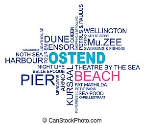 word cloud around ostend, city in belgium, flanders, vector image, eps10