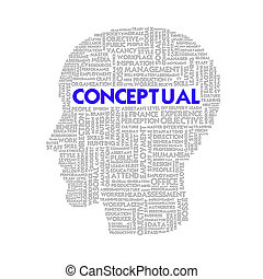 Word cloud business concept inside head shape, conceptual
