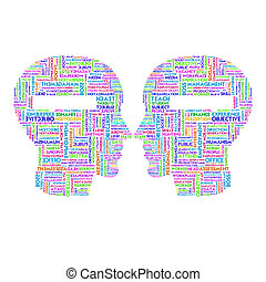 Word cloud business concept inside head shape