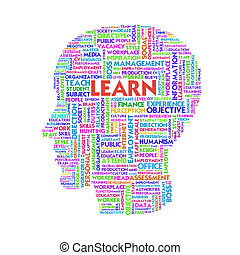 Word cloud business concept inside head shape, learn