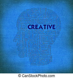 Word cloud business concept inside head shape, creative