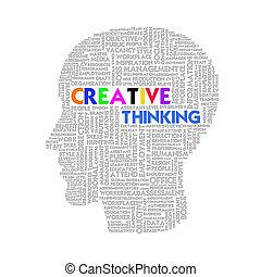 Word cloud business concept inside head shape, idea and creative