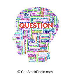 Word cloud business concept inside head shape, learn and education