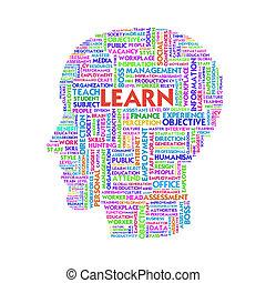 Word cloud business concept inside head shape, learn