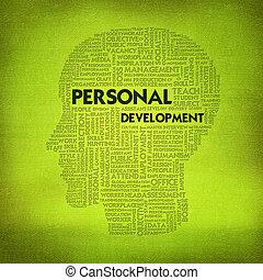 Word cloud business concept inside head shape, personal ...
