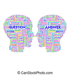 Word cloud business concept inside head shape, question and ...