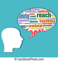 Word cloud business concept with businessman head