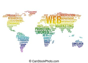 Word cloud business concept. World map from text