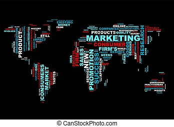 Word cloud bussiness concept. World map from text