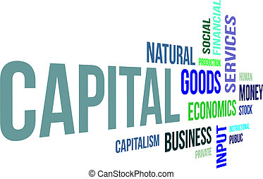A word cloud of capital related items
