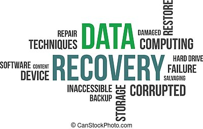 A word cloud of data recovery related items
