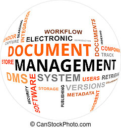 word cloud - document management - A word cloud of document...