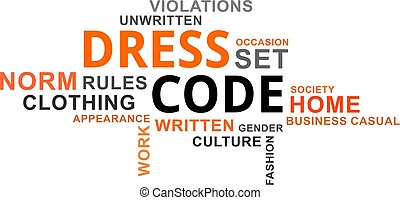 A word cloud of dress code related items