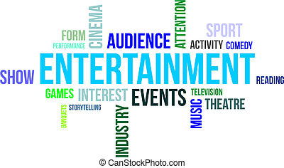 A word cloud of entertainment related items