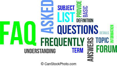 word cloud - faq - A word cloud of frequently asked...