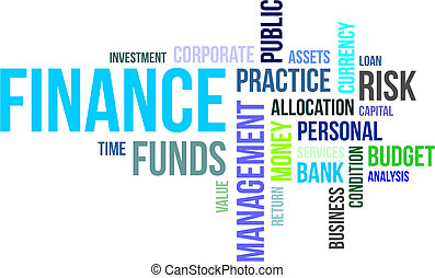 A word cloud of finance related items