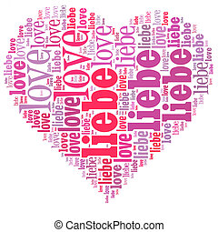 Word cloud in a heart shape filled with love, written in...